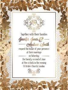 Vintage Baroque Style Wedding Invitation Card Template.. Elegant.. with Invitation Cards Templates For Marriage