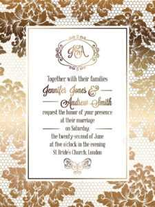 Vintage Baroque Style Wedding Invitation Card Template.. Elegant.. with regard to Sample Wedding Invitation Cards Templates