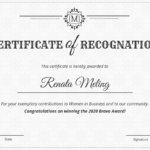 Vintage Certificate Of Recognition Template regarding Template For Certificate Of Award