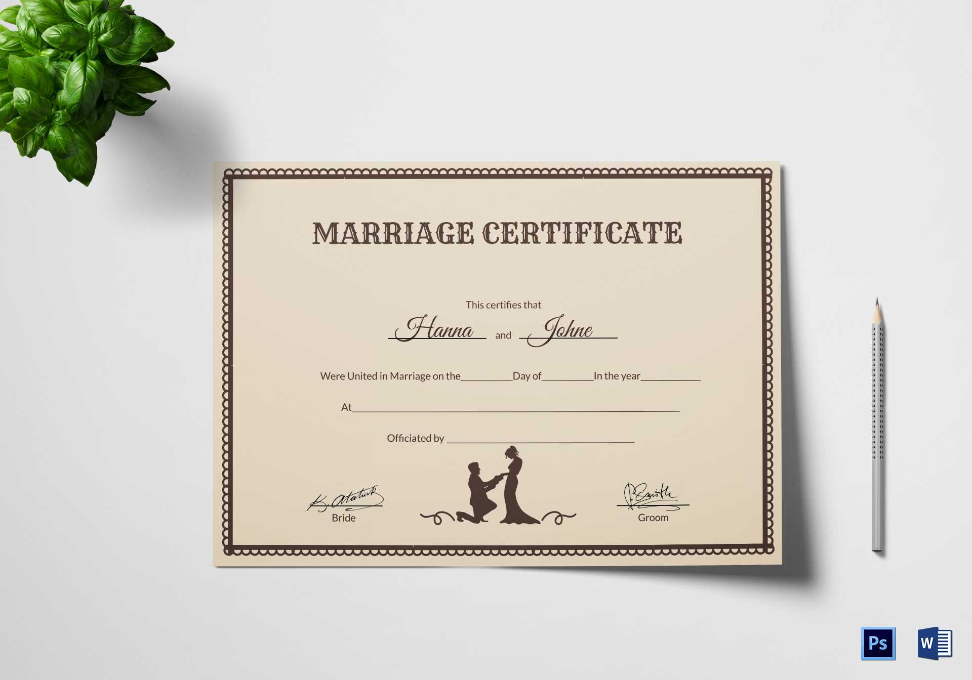 Vintage Marriage Certificate Template Intended For Certificate Of Marriage Template