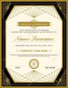 Vintage Retro Art Deco Frame Certificate Background Design Template in Free Art Certificate Templates