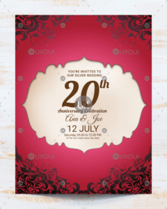 Vintage Wedding Anniversary Invitation Card Template Design Vector in Template For Anniversary Card