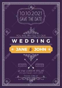 Vintage Wedding Invitation Card A5 Size Frame Layout Print Template with regard to Wedding Card Size Template