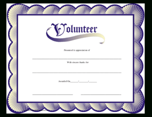 Volunteer Certificate | Templates At Allbusinesstemplates intended for Volunteer Certificate Template
