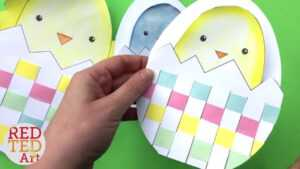 Weaving Chick Cards With Template – Easy Easter Card Diy Ideas for Easter Card Template Ks2