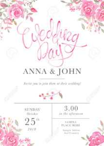 Wedding Invitation Card Template With Watercolor Rose Flowers for Free E Wedding Invitation Card Templates
