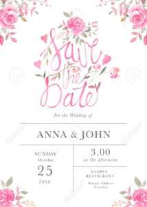 Wedding Invitation Card Template With Watercolor Rose Flowers inside Sample Wedding Invitation Cards Templates
