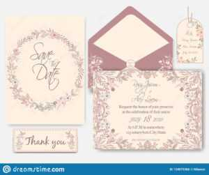 Wedding Invitation Card With Flower Templates Stock Vector with Celebrate It Templates Place Cards