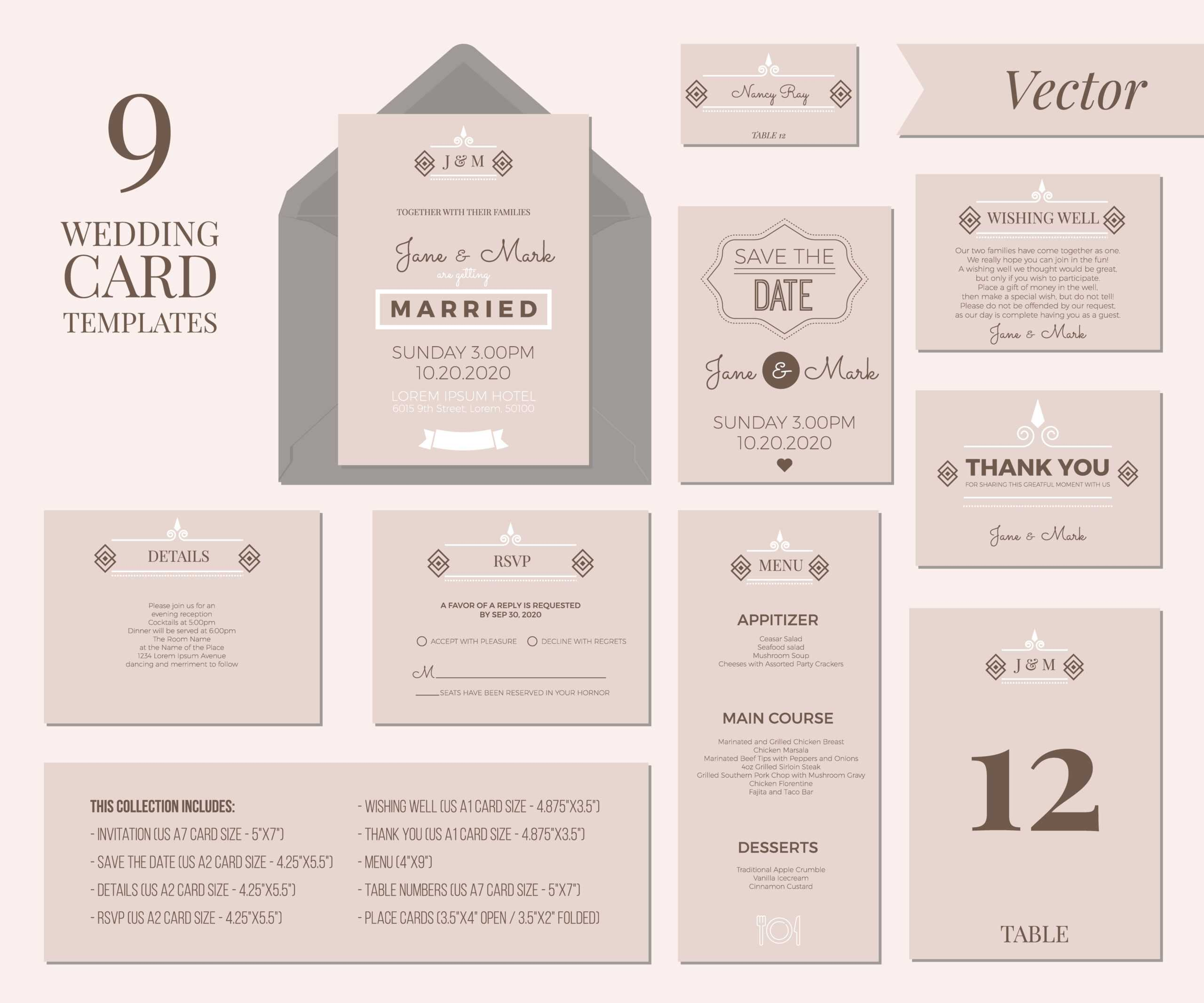 Wedding Invitation Template - Download Free Vectors, Clipart Intended For Wedding Card Size Template