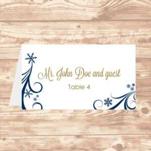 Wedding Place Card Diy Template Navy Swirling Snowflakes inside Wedding Place Card Template Free Word