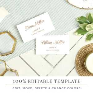 Wedding Place Card Template, Printable Escort Cards, Pretty regarding Printable Escort Cards Template