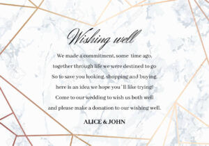 Wedding Well Wishes Card Template. Geometric Design In Rose Gold.. with regard to Donation Cards Template