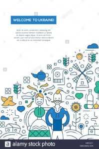 Welcome To Ukraine- Vector Line Design Brochure Poster in Welcome Brochure Template