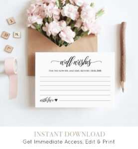 Well Wishes Printable, Wedding Advice Card Template For within Marriage Advice Cards Templates