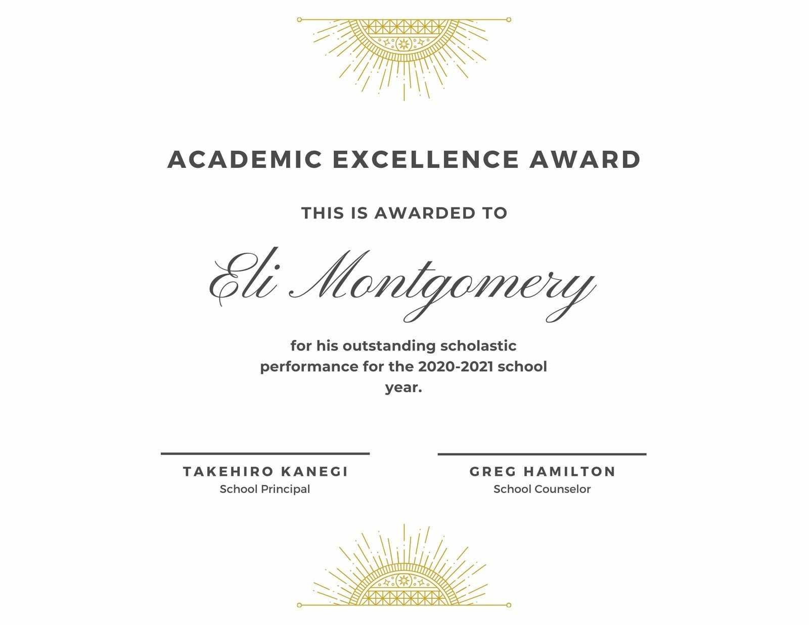 White & Gold Elegant Academic Award Certificate - Templates With Academic Award Certificate Template
