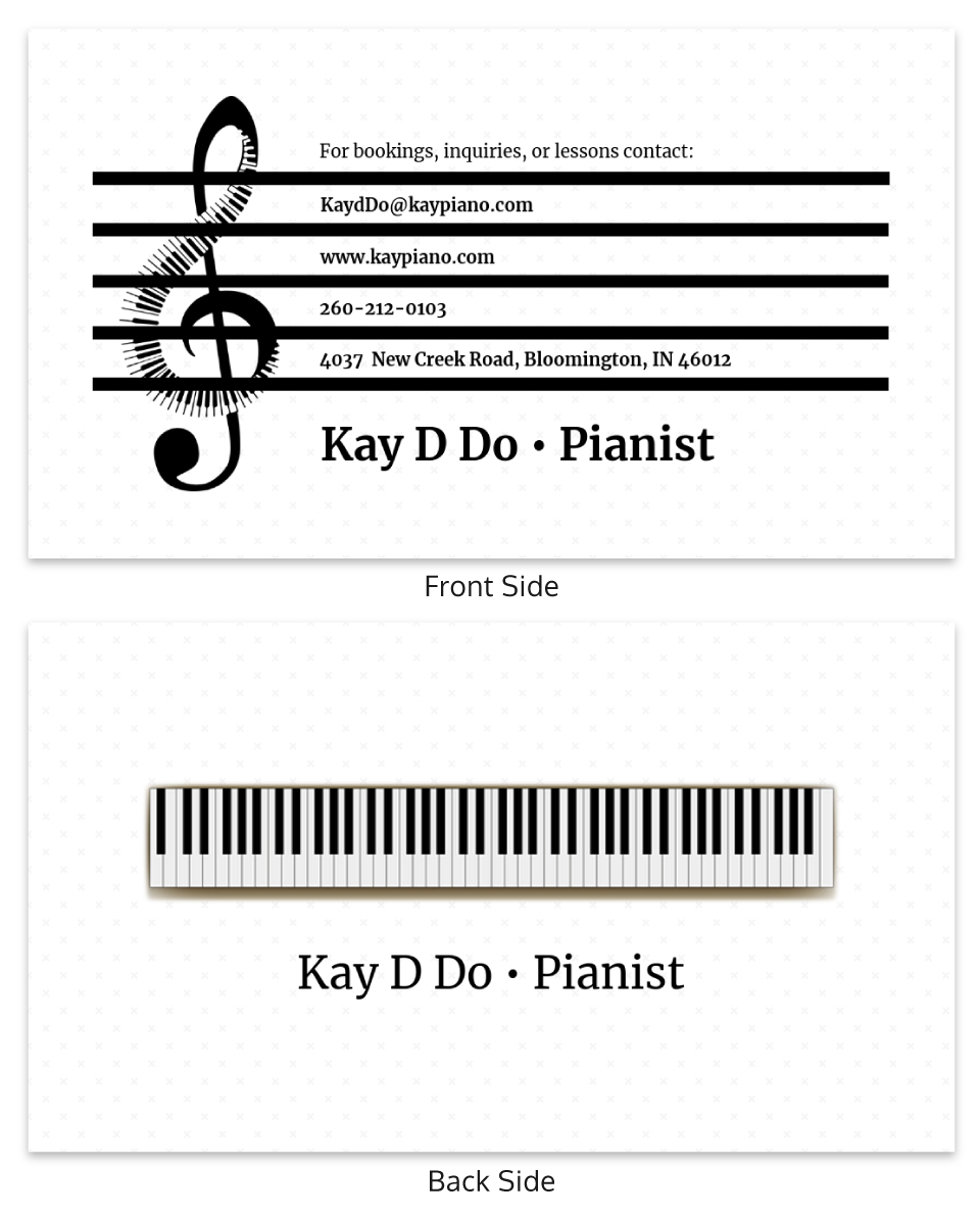 White Pianist Music Business Card Template In Dog Grooming Record Card Template