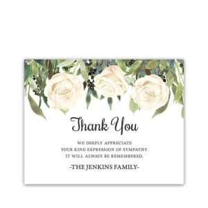 White Roses Funeral Thank You Card For Guests Custom intended for Sympathy Thank You Card Template