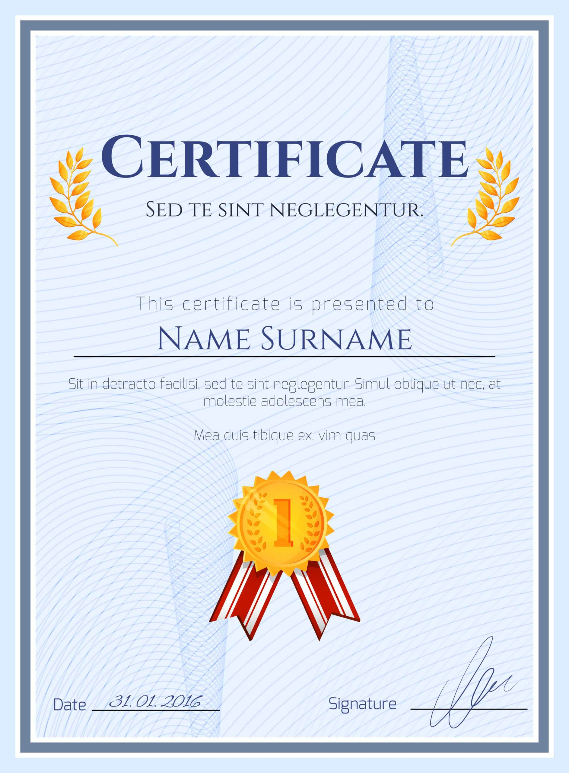 Winner Certificate With Seal - Download Free Vectors With Winner Certificate Template