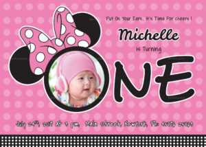Wonderful Minnie Mouse Birthday Invitation Card Template for Minnie Mouse Card Templates