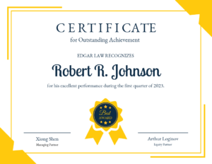 Yellow Certificate Of Recognition Template in Best Performance Certificate Template