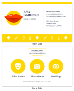 Yellow Makeup Artist Business Card Template within Dog Grooming Record Card Template