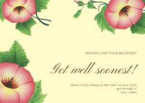 Yellow With Pink Flower Get Well Soon Card – Templatescanva intended for Get Well Soon Card Template