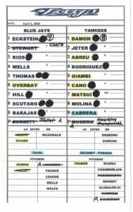 Zack Hample's Lineup Cards — Zack Hample Inside Dugout Lineup Card Template
